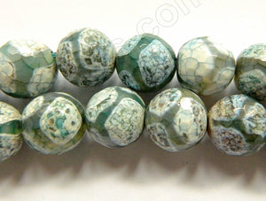 DZi Agate Light Green Web Line  -  Faceted Round  15""