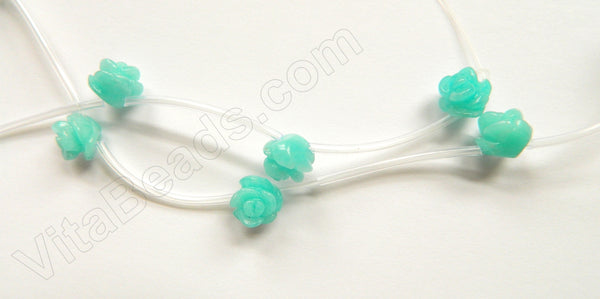 "Dyed Hemimorphite Amazonite  -  Carved Rose Strand  16""    10 mm"