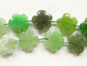 "Lime Green Fire Agate  -  5 Petal Flower Strand  16""    20 mm"