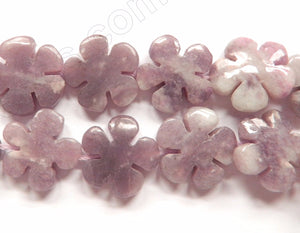 Lilac Stone, Purple Aventurine  -  Carved 5 Petal Flower Strand  16""