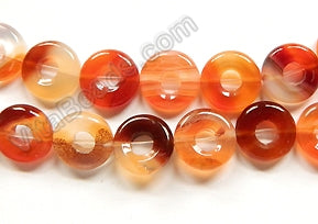Natural Carnelian AA  -  Small Donut Strand 16""