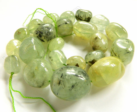 Prehnite A  -  Graduated Smooth Tumble Strand  16""