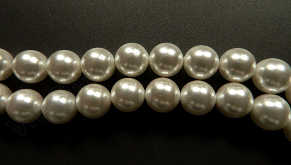 Pearl Shell - White - Smooth Round Beads 16""