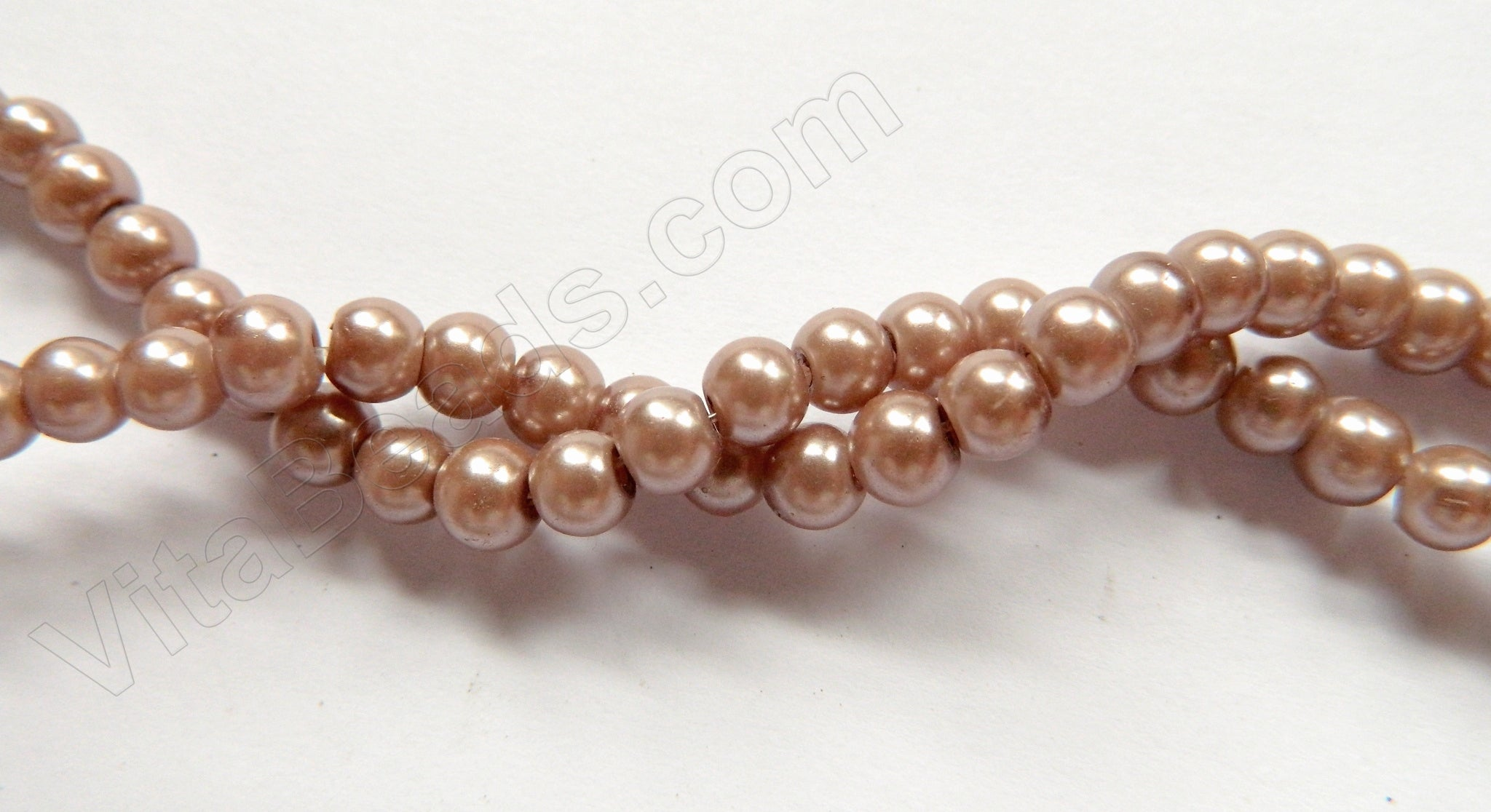 "Glass Pearl   -  Light Brown Purple  -  Smooth Round 16""     6x5mm"