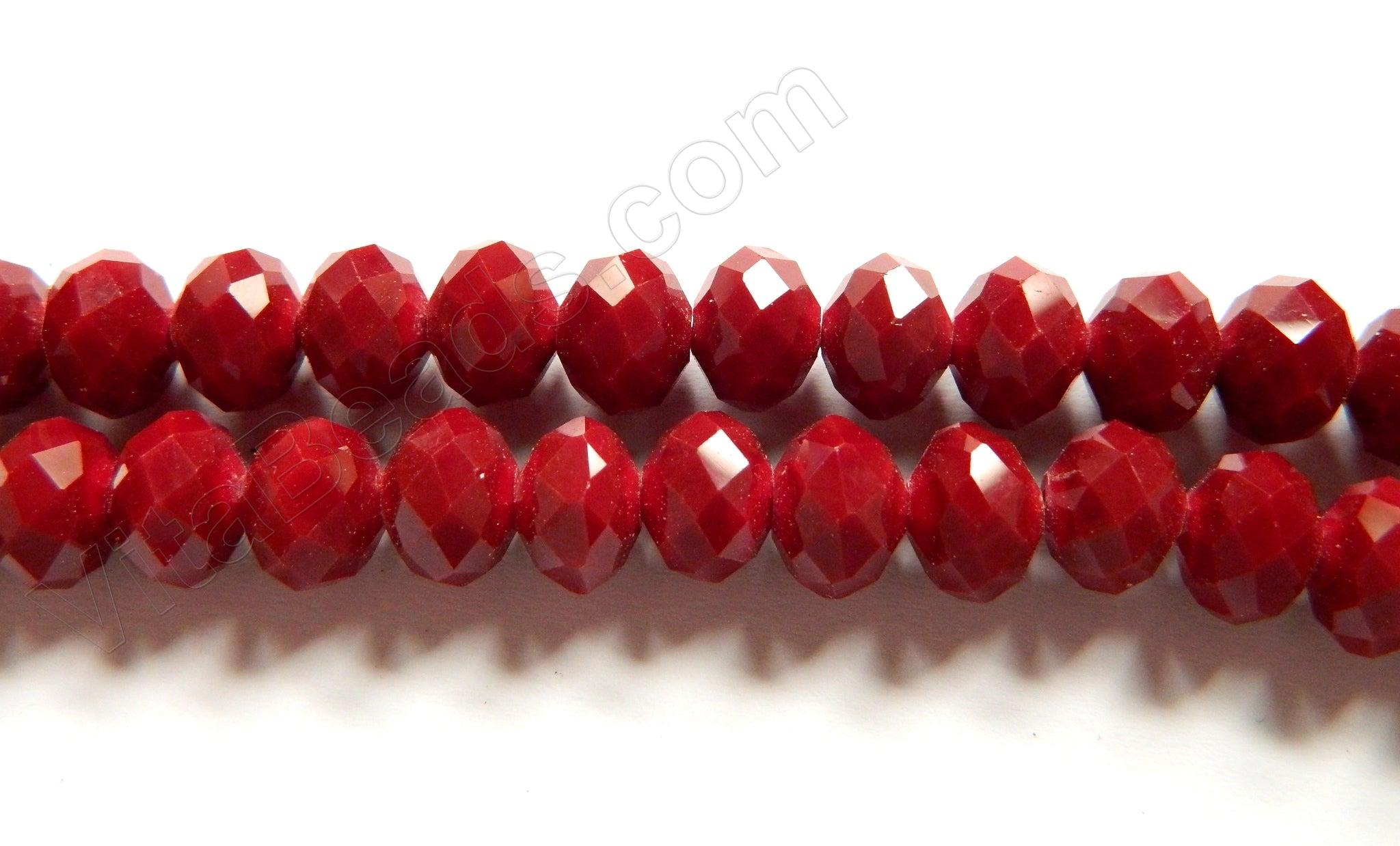 "Deep Red Quartz  -  Faceted Rondel   16""     10 x 8 mm"
