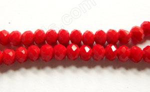 "Big Red Quartz  -  Faceted Rondel   16""     6 x 4 mm"