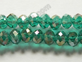 "AB Coated Paris Green Crystal Qtz  -  Faceted Rondel  16""      6 mm"