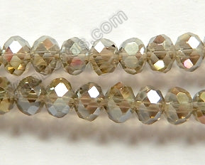 "AB Coated Smoky Crystal Qtz  -  Faceted Rondel  16""     6 mm"