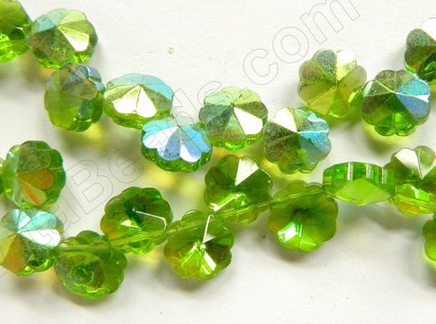 AB Coated Peridot Crystal  -  Caviar Flower Top Drilled  12""