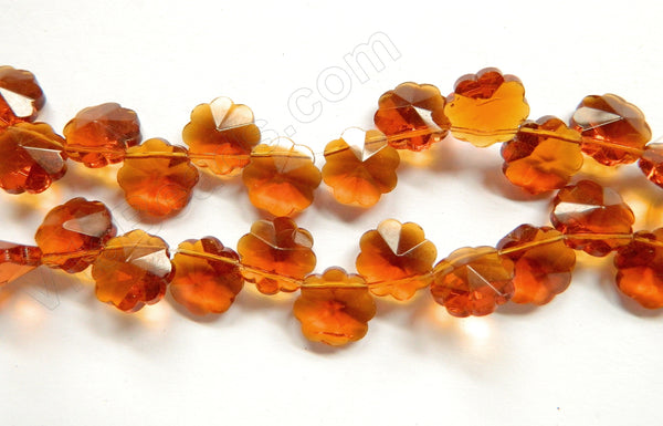 Amber Crystal  -  Caviar Flower Top Drilled  15""