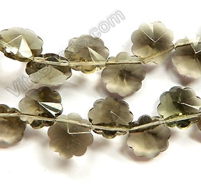 Smoky Crystal  -  Caviar Flower Top Drilled  15""