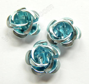 Aluminum Small Rose Beads Aqua