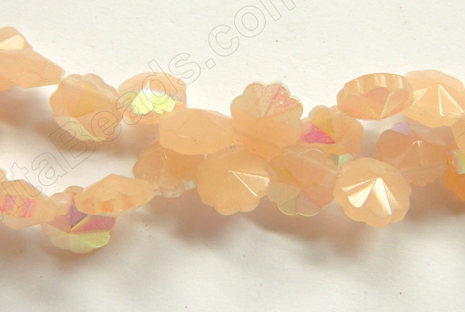 AB Coated Peach Chalcedony Quartz  -  Caviar Flower Top Drilled  12""