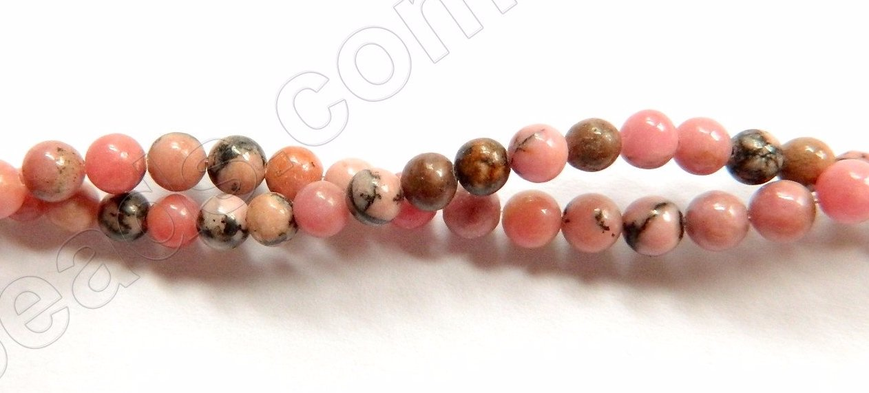 "Black Line Rhodonite  -   Small Smooth Round  15.5""    3mm"