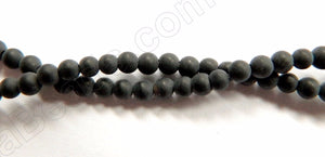 "Matte Black Onyx  -   Small Smooth Round  15.5""    3mm"
