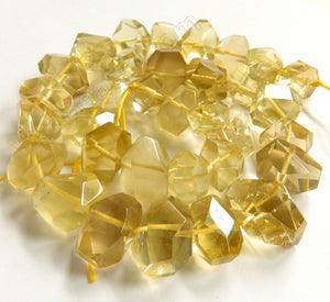 Lemon Quartz (Natural) AA  -  Center Cut Faceted Tumble  16""