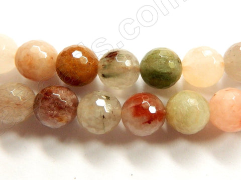 Mixed Rutilated Quartz Natural AAA  -  Faceted Round  16""