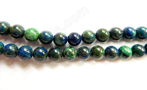 Chrysacolla Natural AAA  -  Smooth Round Beads  16""