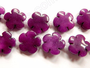 "Dark Purple Jade  -  Carved 5 Petal Flower Strand  16""    20 mm"