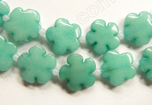 "Amazonite Jade  -  Carved 5 Petal Flower Strand  16""    20 mm"