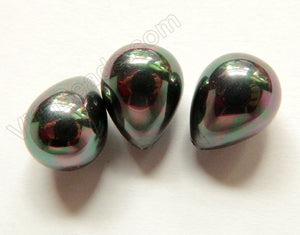 Shell Pearl - Dark Peacock Smooth Teardrop Earring Beads