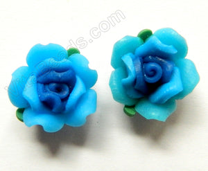 Polymer Clay Flower Pendant   Blue Aqua w Leaves
