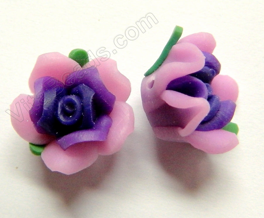 Polymer Clay Flower Pendant   Purple Pink w Leaves
