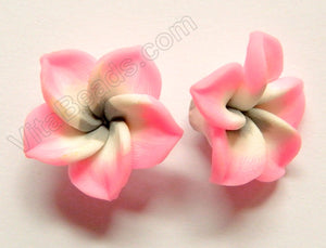 Polymer Clay Flower Pendant   Grey Pink