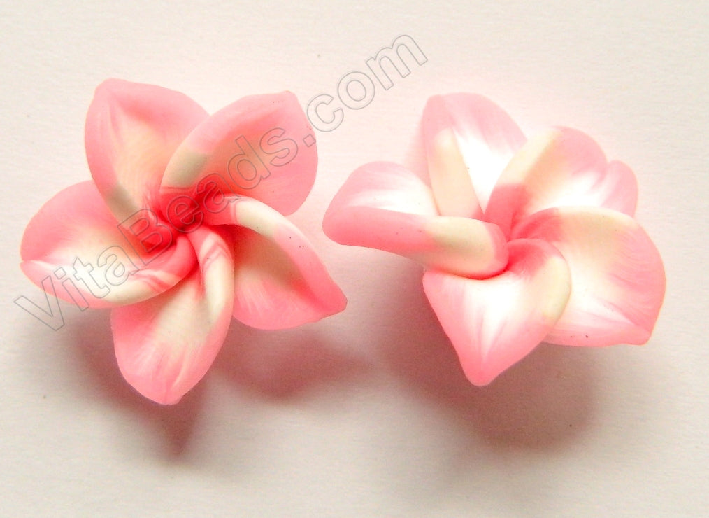 Polymer Clay Flower Pendant Pink White Pink