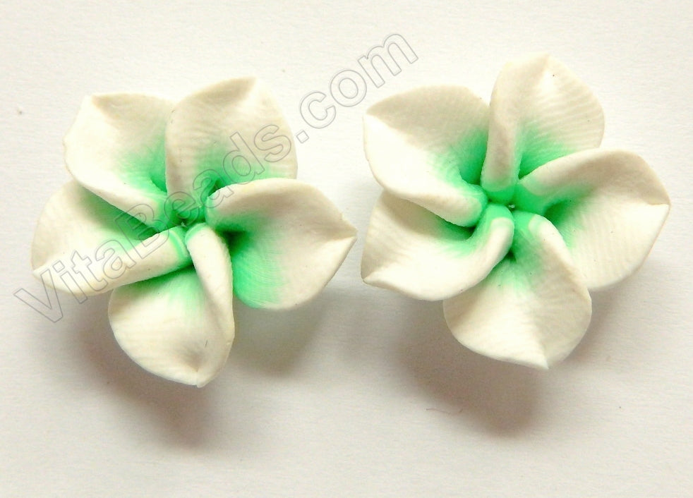 Polymer Clay Flower Pendant Green White
