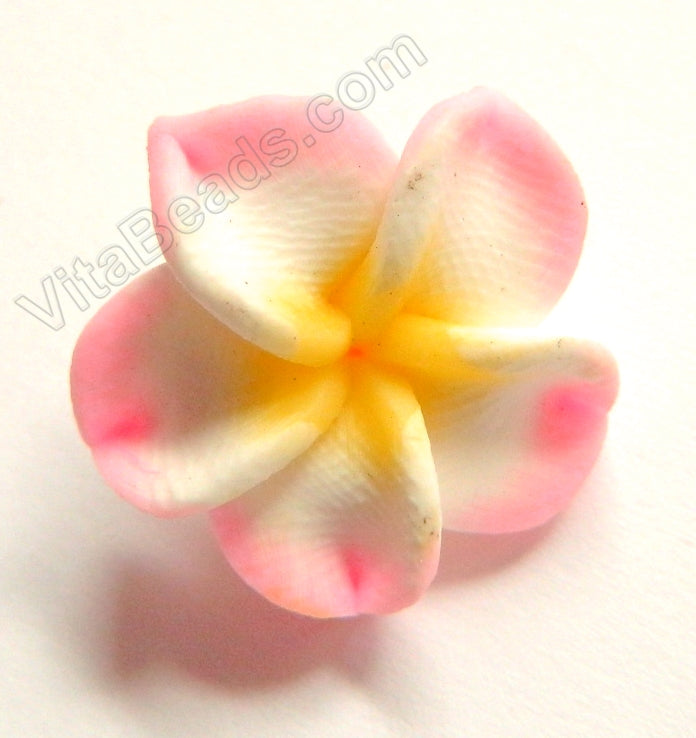 Polymer Clay Flower Pendant   Pink Yellow