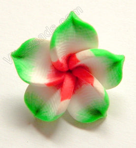 Polymer Clay Flower Pendant   Red White Green