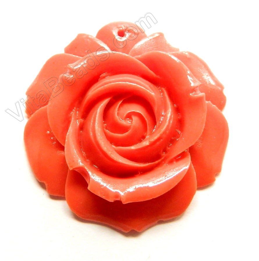 Carved Rose Pendent Synthetic Dark Peach Coral