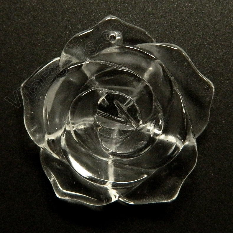 Carved Rose Flower Pendant   Crystal