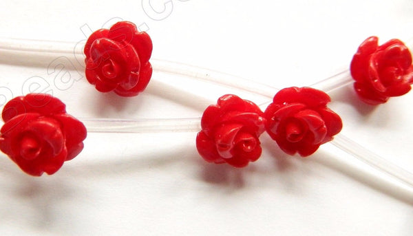 Red Coral Stone  -  Carved Rose Strand  10""