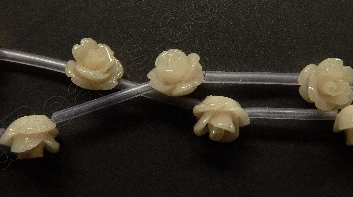 Synthetic Ivory Bone -  Carved Rose Strand  10""