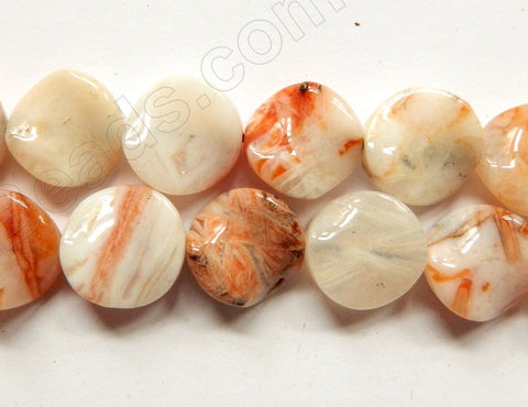 Pink Crazy Lace Agate  -  Twist Coin 16""