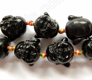 Synthetic Black Stone  -  Carved Laughing Buddha Head 16""