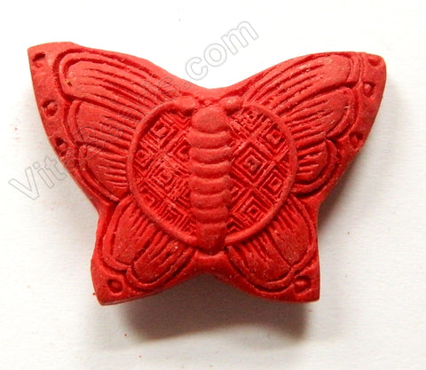 Cinnabar Lacquer Red  -  Carved Medium Butterfly Pendant