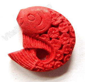 Cinnabar Lacquer Red  -  Carved Jumping Fish Pendant
