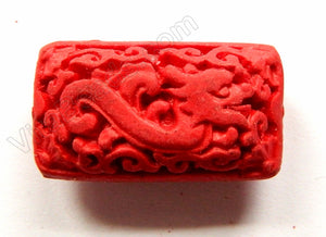 Cinnabar Lacquer Red  -  Carved Dragon Rectangle Pendant