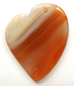 Smooth Pendant - Puff Heart Right Side Drilled Natural Agate w/ Stripes