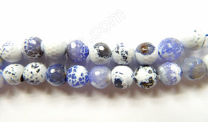 Sky Blue Fire Agate w White  -  Faceted Round  16""