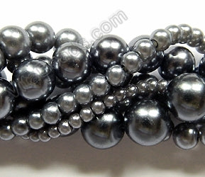 Glass Pearl   -  Dark Ash Grey  -  Smooth Round 16""