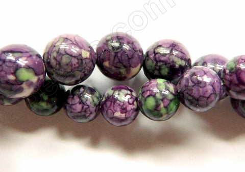 Purple Green Lilac Magnesite  -  Smooth Round Beads   16""