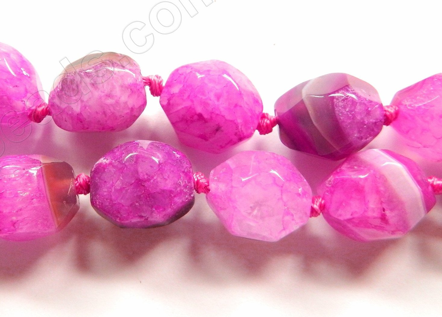 "Bright Fuchsia Fire Agate  -  Machine Cut Nuggets 16""    16 x 20 mm"