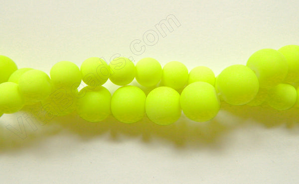 "Bright Neon Yellow Matte Glass  -  Smooth Round  15""     8 mm"