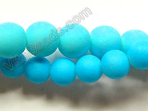 "Bright Aqua Matte Glass  -  Smooth Round  15""     10 mm"