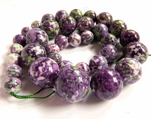 Purple Green Lilac Magnesite   Graduated Smooth Round Strand 16""