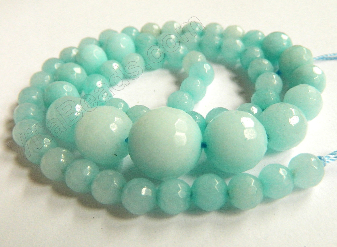Amazonite Jade    6-14mm Graduated Faceted Round Necklace 16""